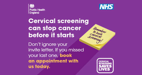 Cervical screening can stop cancer before it starts. Do not ignore your invite letter. If you missed your last one book an appointment with us today